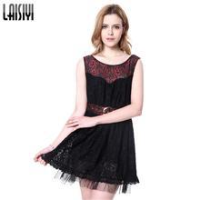 Laisiyi nuevo negro mujeres vestido Bordado Encaje vendaje mini Vestidos  malla patchwork chaleco vestido fiesta Oficina dr10117 af4a61dd7a01