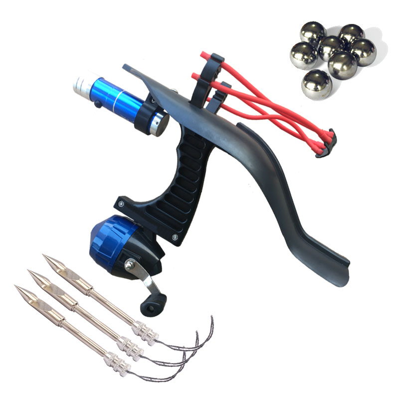 ABS Slingshot Hunting Fishing Bow Powerful Catapult Support Sightscope Reel Multi-function Steel Ball Ammo Arrow Sight Scope
