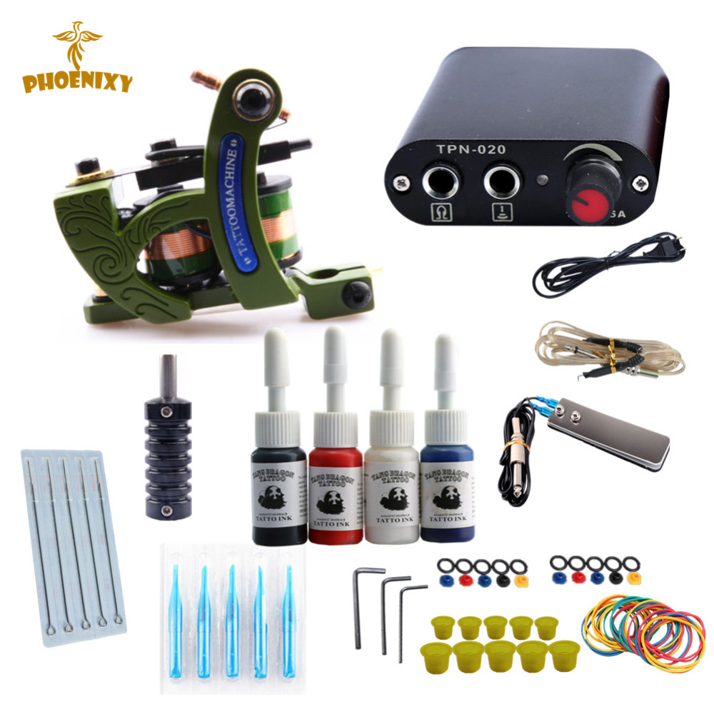 Phoenixy New Tattoo Kits Guns Tattoo Machine Power Supply Set Beginner Tattoo Supplies Kits full sleeve tattoo for men wetkiss new women flats platform shoes women flat lace up round toe footwear spring fashion casual ladies shoes big size 34 42