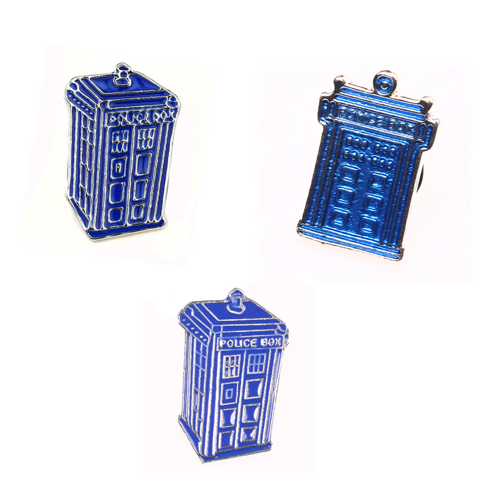 M2 Hot Movie Doctor Who Blue Police Box Tardis Brooches Pins House Shape Drop Shipping
