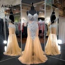 Awishwill Spaghetti Strap Sexy Long Evening Dress Mermaid