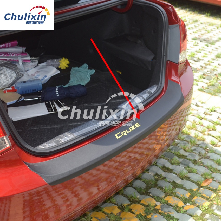 1pc car sticker carbon fiber texture PU leather trunk door sill decorative cover for 2009-2017 Chevy Chevrolet Cruze all model ...