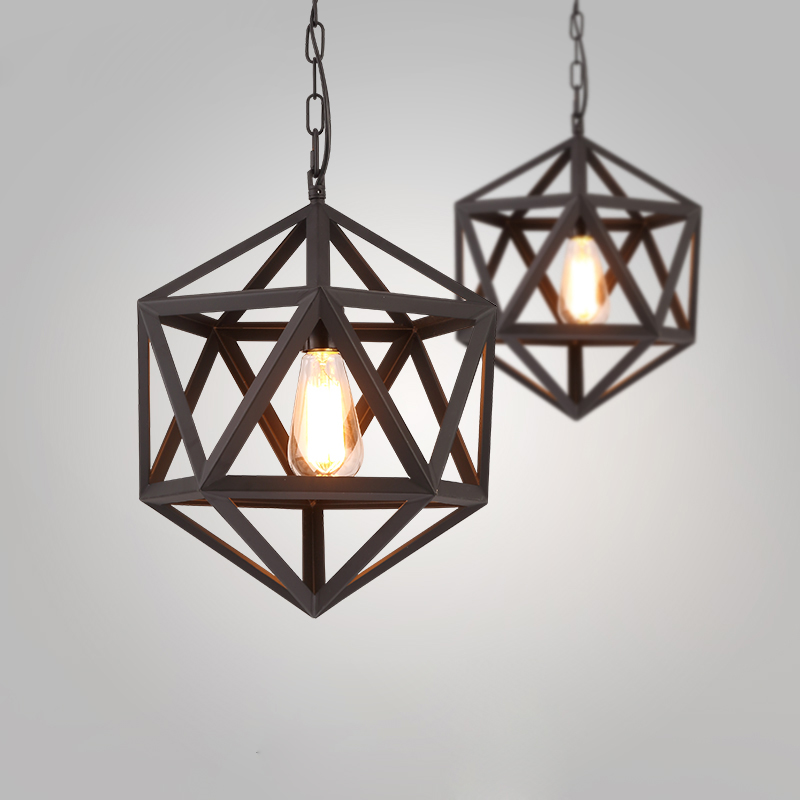 RH Creative Pendant Lights Loft Retro Industrial Rhombohedron Pendant Lamps for Bar/Restaurant Personality Home Lighting Decor полотенце karna petek 100х150 см зелёное
