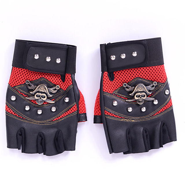 Long Keeper Skulls Rivet PU Leather Fingerless Gloves Men Women Fashion Hip Hop Women's Gym Gloves Half Finger Men's Gloves 3