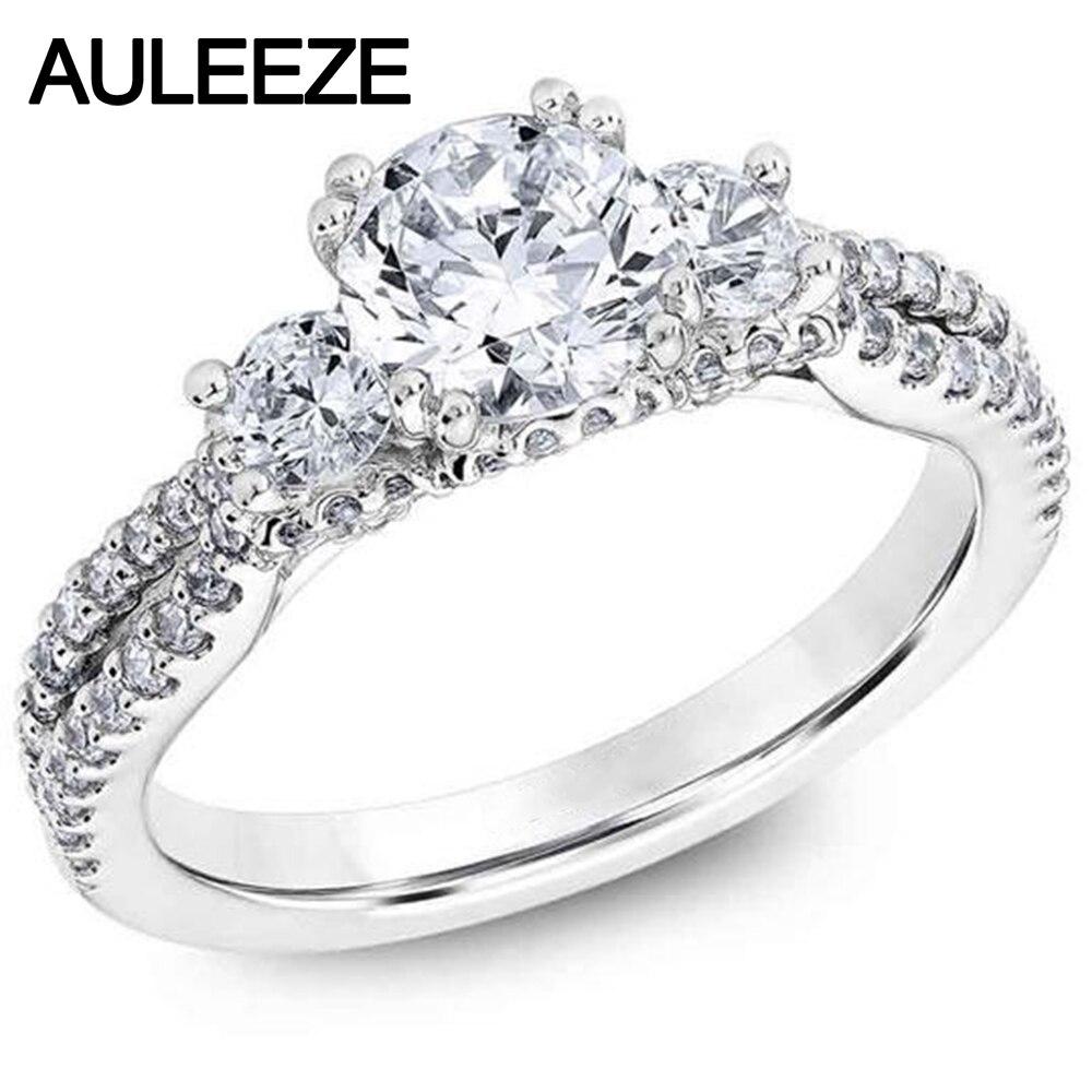 Classique 1CT Moissanites diamant bijoux trois pierre 585 or bague de fiançailles solide 14 K or blanc laboratoire cultivé diamant bague de mariage