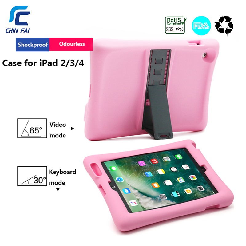 CHINFAI Silicon Case For Apple IPad 2 3 4 9.7'' Shockproof Case With Stand Soft Case For New IPad Kids Friendly Case For IPad 4