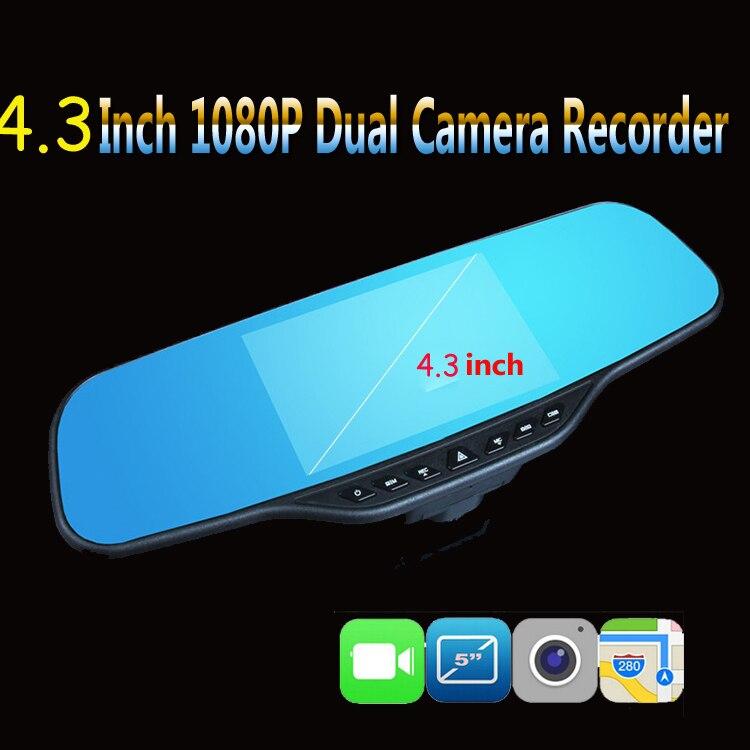 ФОТО New Full HD 1080P Night Vision New Fashion 2016 Car Digital Video Recorder Car DVR 4.3'' Dual Lens Registrar Camcorder