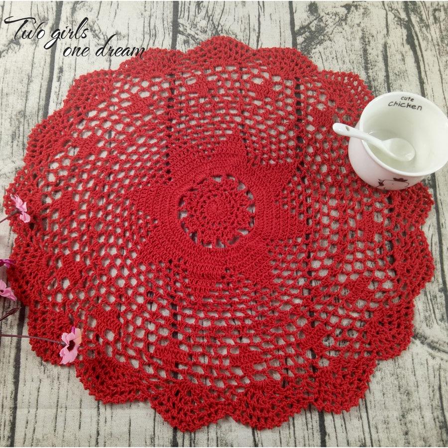 Vintage Diy Handmade Crochet Coaster Doily Flower Tray Pad