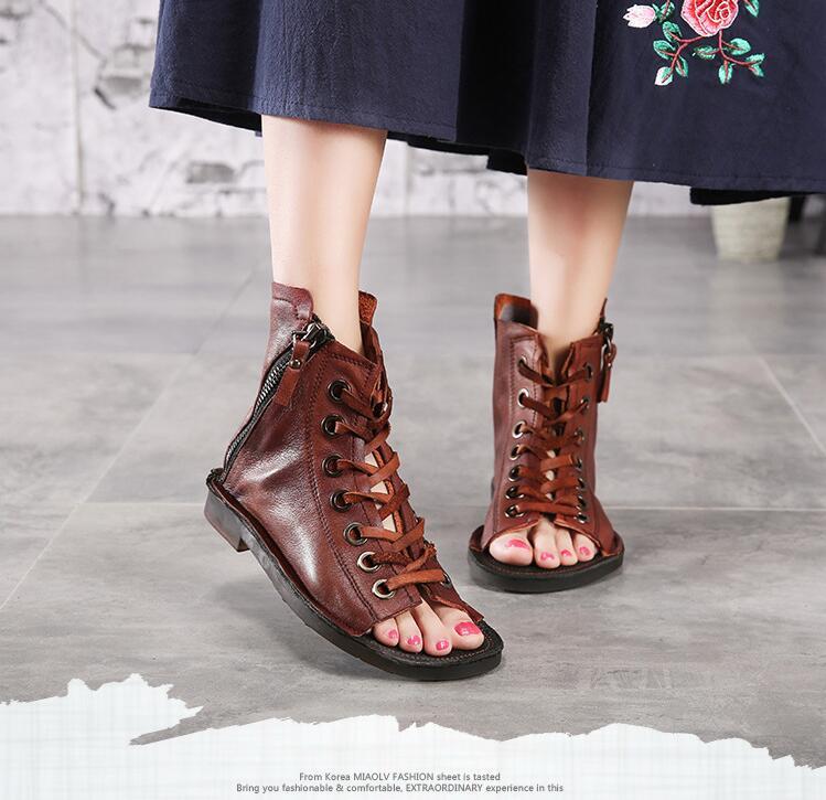 Summer wedges linen open fingers sandals peep toe lace up fishnet eco linen boots casual flat lace up knee high boots greek roman sandals