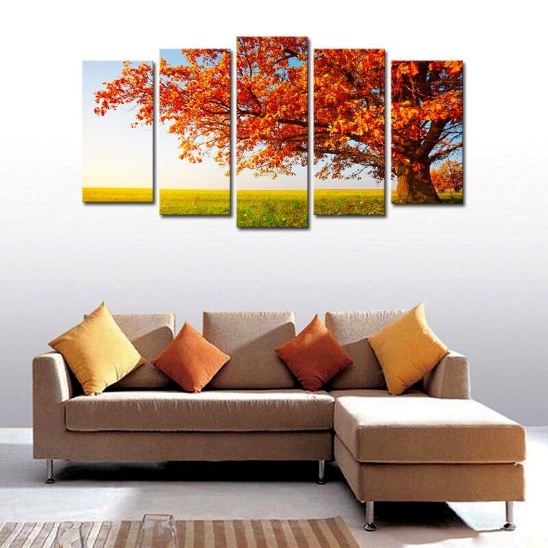 83ec49dcd4f85 قماش جدار الفن صور زخرفة غرفة المعيشة المنزل الديكور قماش الطباعة الحديثة 5  unframed جزء من الأشجار الحمراء hd اللوحة