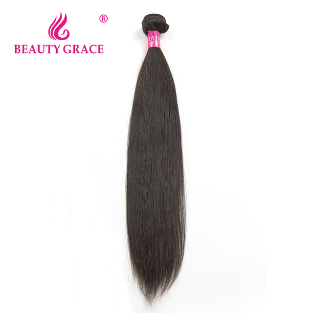 Beauty Grace Brazilian Straight Hair Weave Bundles Natural Color Non-Remy 100% Human Hair Weaving 8-28 Inch
