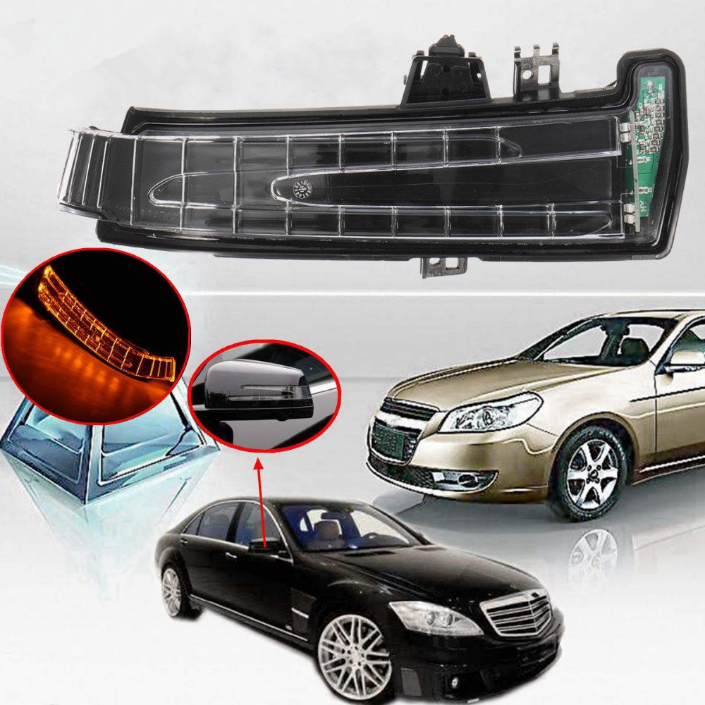 1Pcs Amber Car Side Mirror Turn Signal Light lens For Mercedes W204 W212 W221 Right/Left Side 2 x t10 led w5w canbus car side parking light bulbs with projector lens for mercedes benz c250 c300 e350 e550 ml550 r320 r350