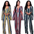 2017 hot sale women sexy backless V-neck cloak sleeves mantle multicolor fashion casual striped jumpsuits cheap price