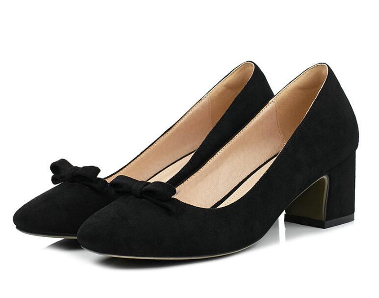 Ayakk.'ten Kadın Pompaları'de Dousin partin 2018 Moda Kadın Pompaları Kalın yüksek Topuklu Kadın ayakkabı Yuvarlak Ayak Kadın düğün ayakkabı papyon Zapatos Mujer'da  Grup 2