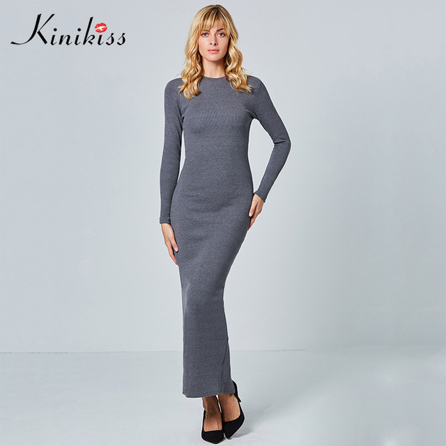 Kinikiss Women Knit Maxi Dresses Winter Causal Long Sleeve Elegant Sweater Dress Purple Bodycon Knitted