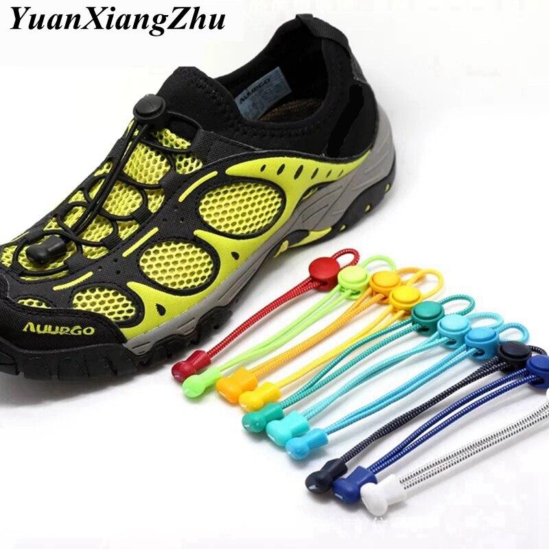 Stretching Lock Lace 23 Colors A Pair Of Locking Shoe Laces Elastic Sneaker Shoelaces Shoestrings No Tie Shoes Lace 100CM T1