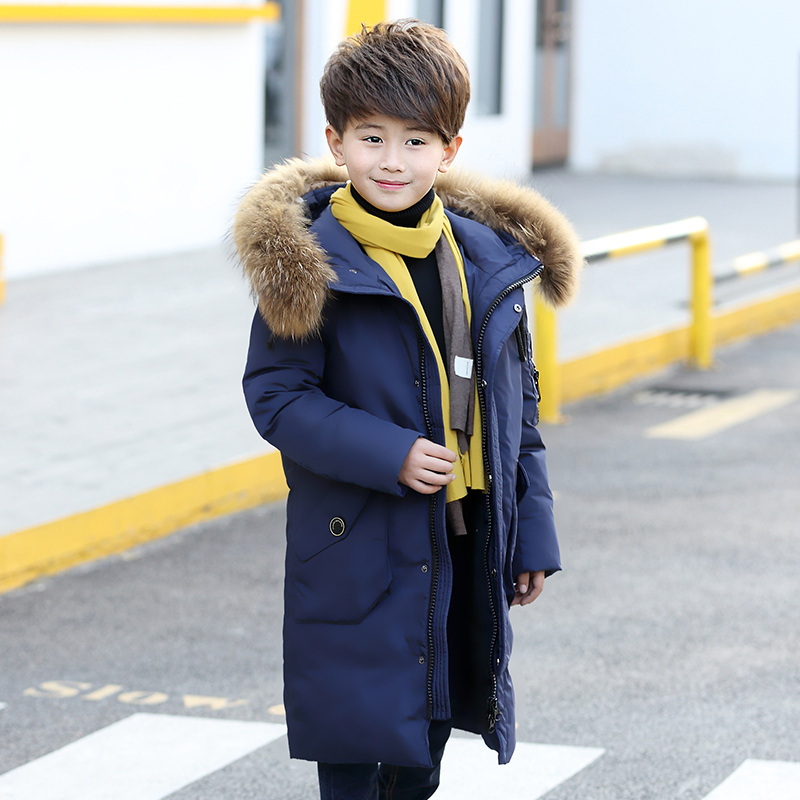2017 new children's down jacket boys long Korean version big child thickening coat large hair collar casual children's clothing medium and large size girls down jacket new korean version of thickening parent child clothing warm hooded wool collar coat