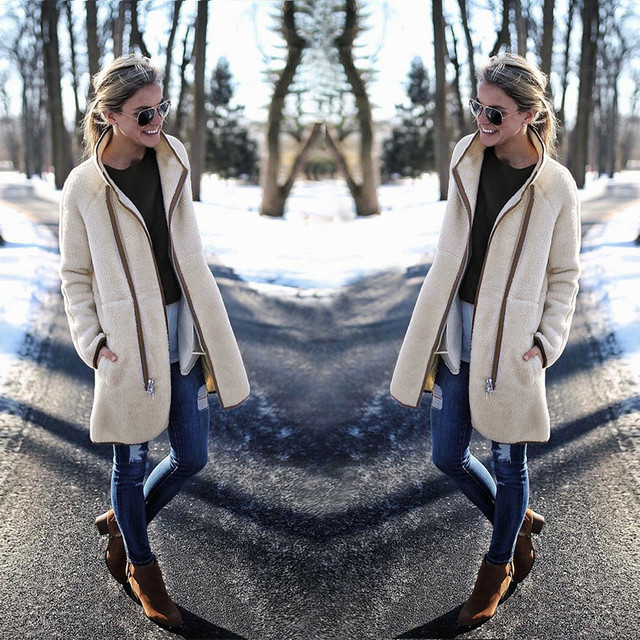 2018 Autumn Winter Women New Patchwork Solid Blend Outwear Long Sleeve Turtleneck Zipper Casual Slim Fashion Ladies Thick Coat 4