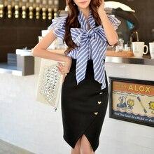 Dabuwawa royal blue striped bow blouse