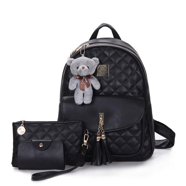 Diamond Lattice 3 Pcs Bear Backpack