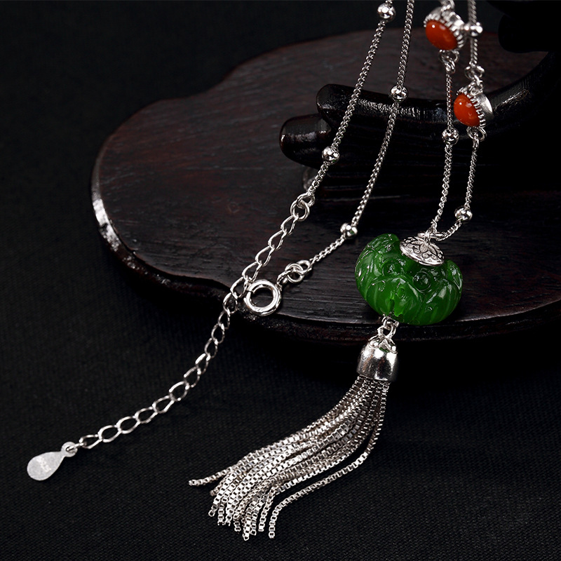 S925 Sterling Silver Natural Hetian jade lotus south red long high grade multi touch sweater chain