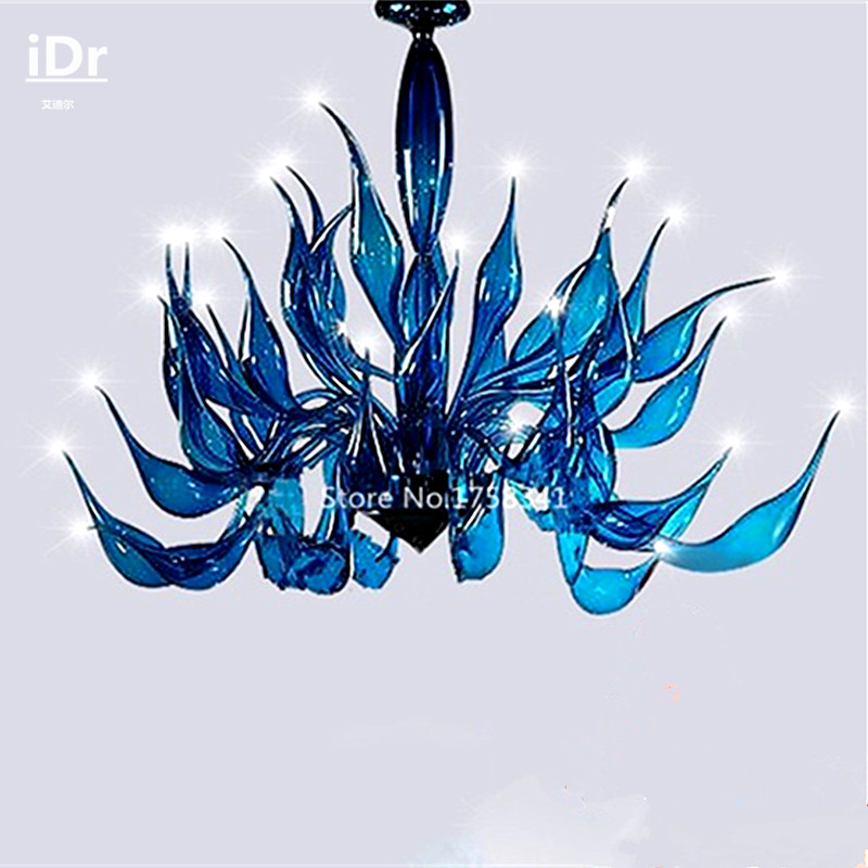 modern personality blue glass lamp Swan Art Clubhouse Hotel Living Room Restaurant Bedroom lamp Hall Chandeliers