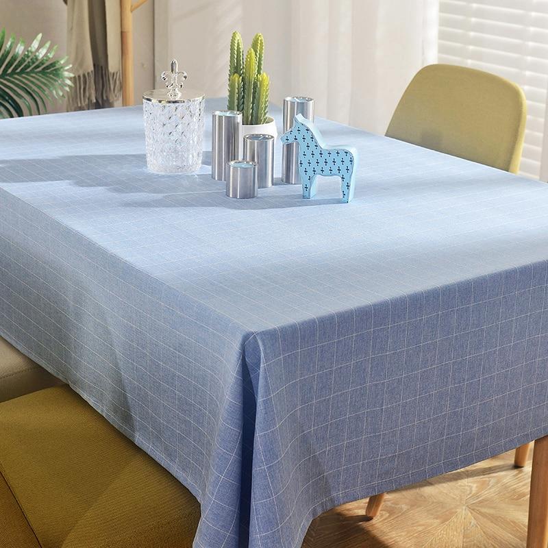 Sky Blue Lattice Tablecloth Table Living Room Coffee Cloth Hotel Rectangular 80 120 Cm