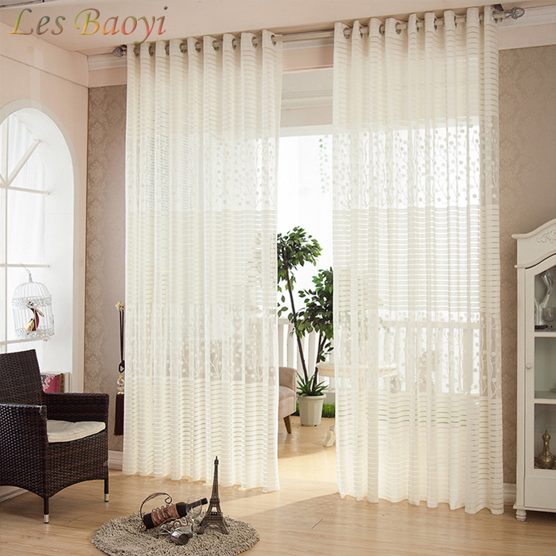 Les Baoyi Lyx Ren Transparent Vit Voile Broderad Glassvågor - Hemtextil