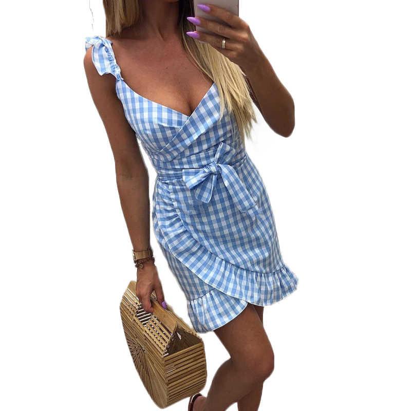 Сексуальное платье с v-образным вырезом и асимметричными оборками, летнее платье в клетку 2019, мини-платья с открытой спиной для женщин, Vestidos