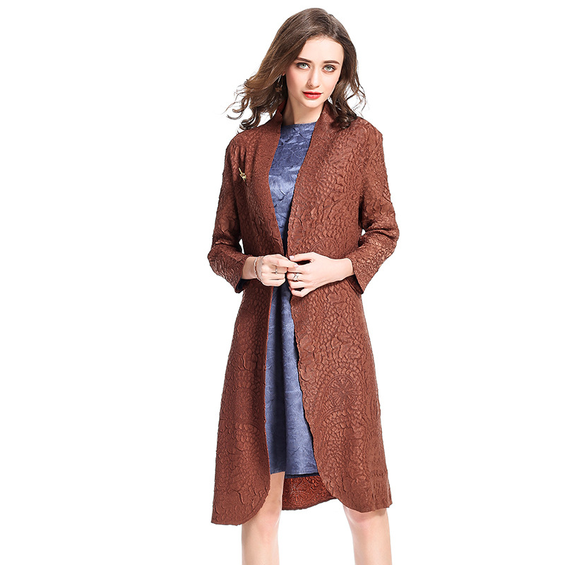 New refined heavy pleated printed coat   trench   fashion boutique long spring and autumn women miyake pleated free shipping