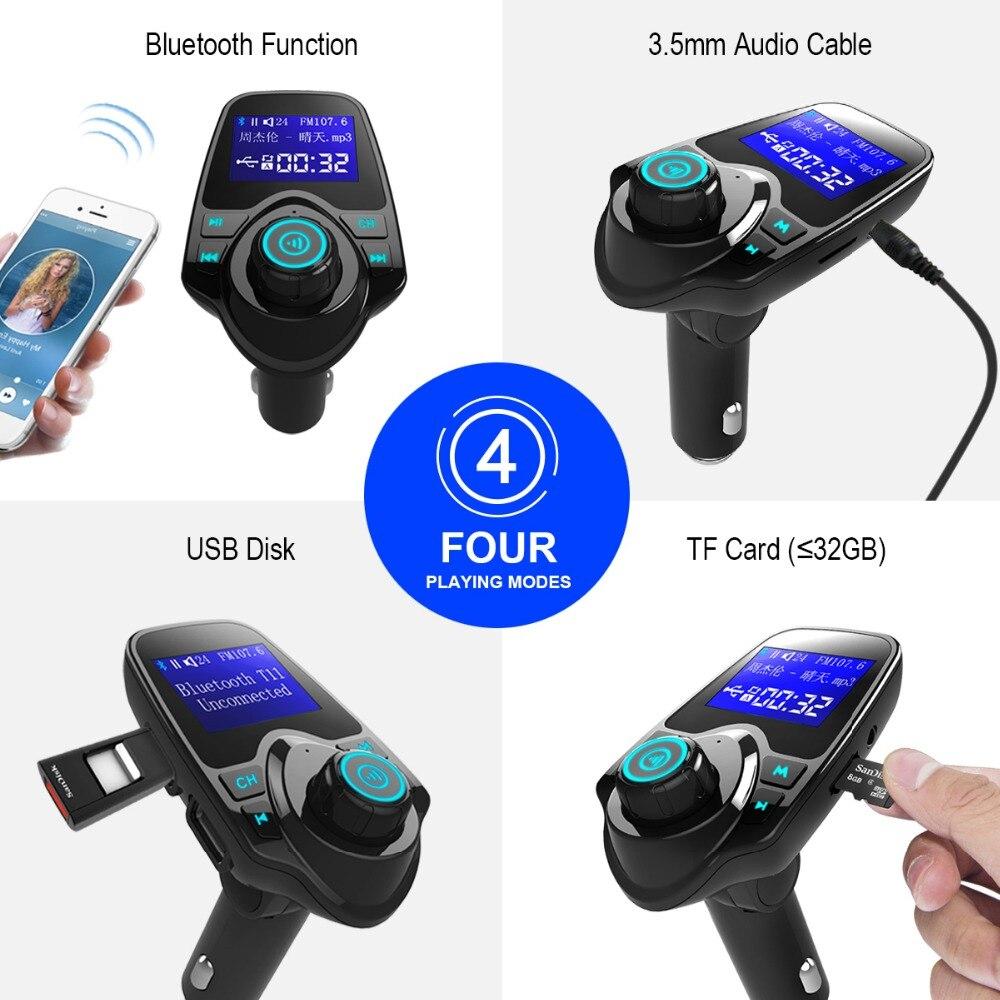 Siparnuo Auto FM Transmitter Bluetooth Drahtlose Auto Mp3 Player Car Kit FM Transmitter A2DP 5 v 2.1A