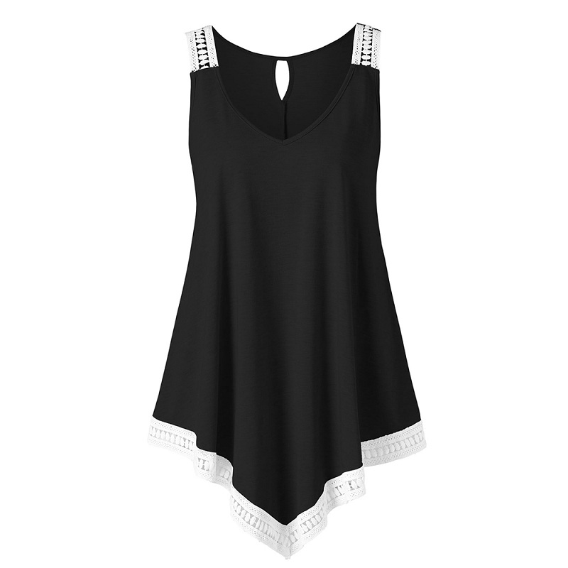 Summer Women   Tank     Tops   Casual V-Neck Back Keyhole Asymmetric   Tops   Fashion Plus Size Crochet Panel   Tank     Top   Big Size Clothes 5XL