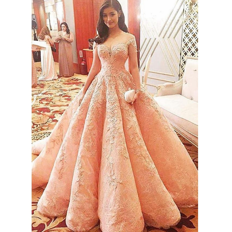 Evening Long Evening Dresses Plus Size Nude Pink Prom Gowns New ...