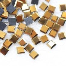 New 6x6mm 130pcs/lot Gold Square Hot Fix Rhinestones Strass Crystal Trim Flatback Stones and Craft