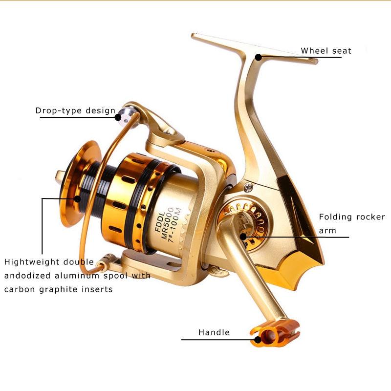 Yumoshi 10BB Spinning Spool Fishing Reel Aluminum Salt Freshwater Carp  Golden High Power