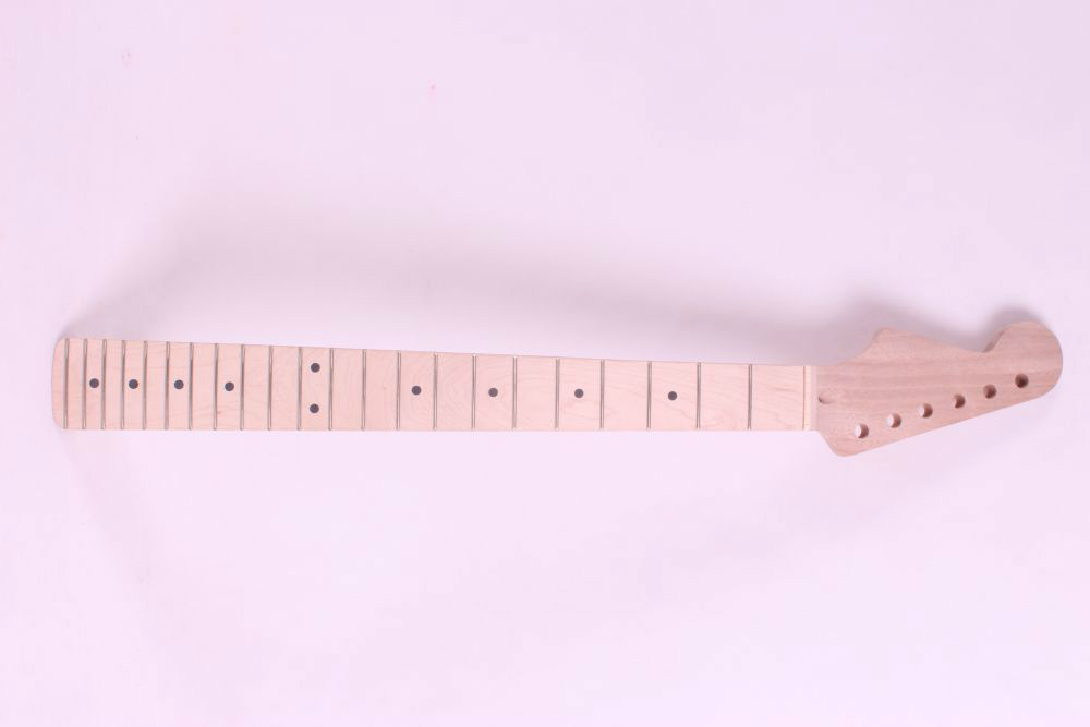 one left unfinished electric guitar neck mahogany made and maple wood fingerboard Bolt on 22 fret black color 24 frets holt on one electric guitar neck mahogany wood and rosewood fingerboard 171