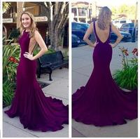 Sexy Backless Mermaid Prom Dresses 2017 Purple Court Train Evening Gowns