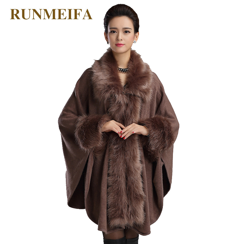 RUNMEIFA Autumn Winter New Women s Long Knitted Cardigan Sweater Fashion Fake Fox Fur Cashmere Shawl