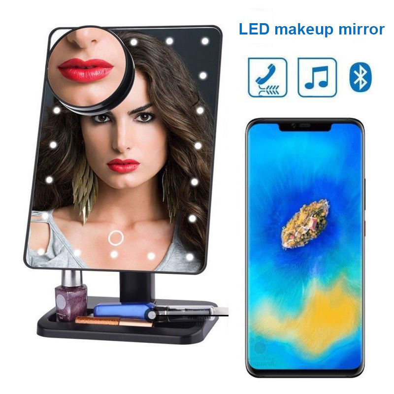 Newly Pro 20 LED Makeup Mirror Light Bluetooth 10X Magnifying USB Charging Lights Women Makeup Accessories Makeup MirrorsNewly Pro 20 LED Makeup Mirror Light Bluetooth 10X Magnifying USB Charging Lights Women Makeup Accessories Makeup Mirrors
