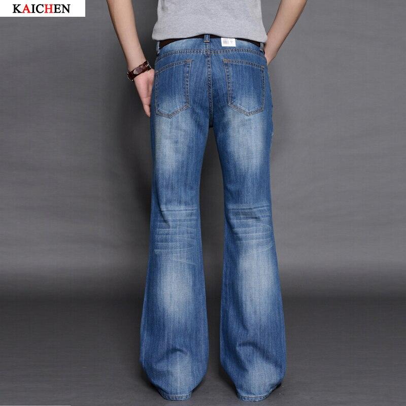ФОТО 2016 Mens Big Flared Jeans Boot Cut Leg Flared Loose Fit high Waist Male Designer Classic Denim Jeans Pants Bell Bottom Jeans