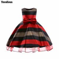 Yeedison Sleeveless Kids Dresses For Girls Fashion Bow Girls Summer Striped Dress Children Party Princess Costume