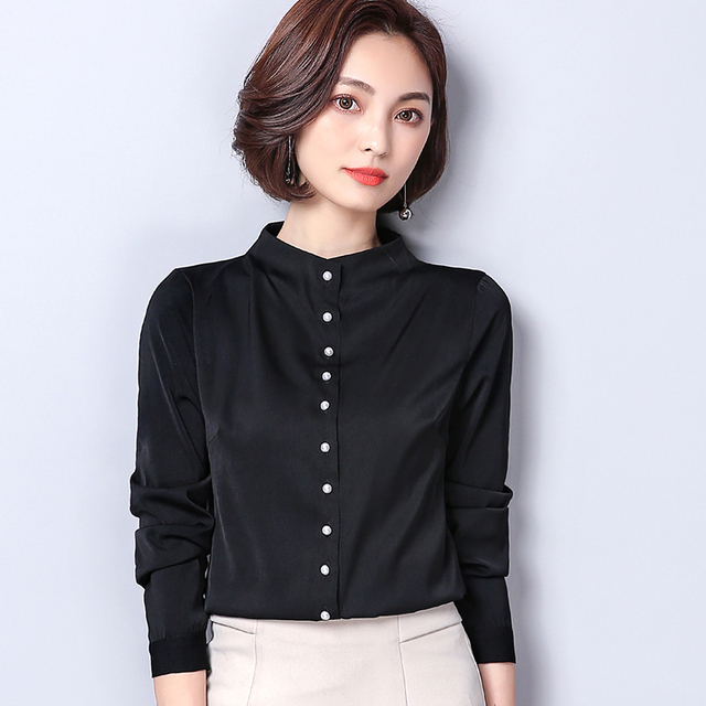 3245a6d90eca03 2018 Spring Simply Style Long Sleeve Stand Collar Black Satin Shirts Women  Work Wear White Satin Blouses Lady Black Satin Tops