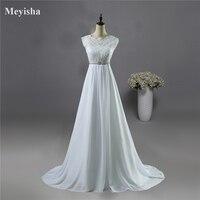 9058 Hot Sale Chiffon Beach Crystal Wedding Dresses Vestidos De Novia Empire Beaded Bohemian Bridal Gowns