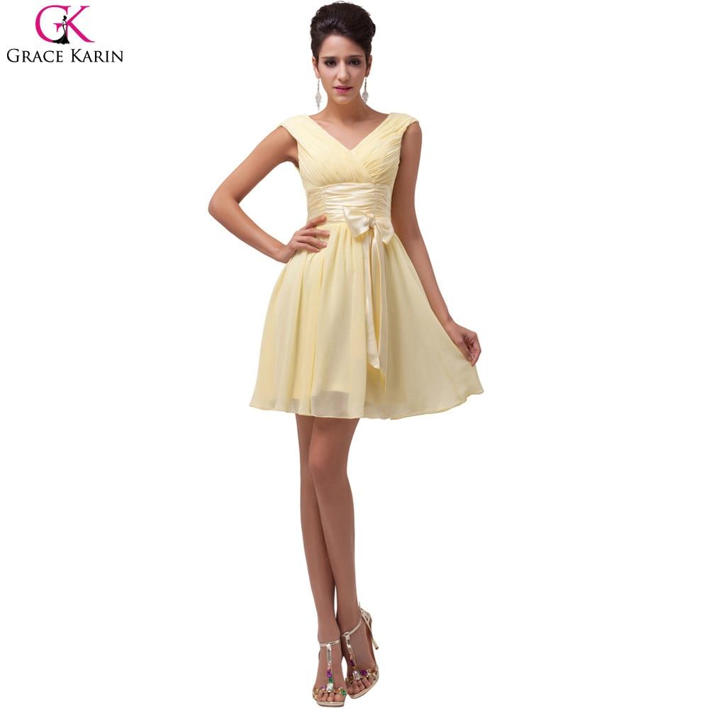 Beautiful Short Yellow Bridesmaid Dresses
