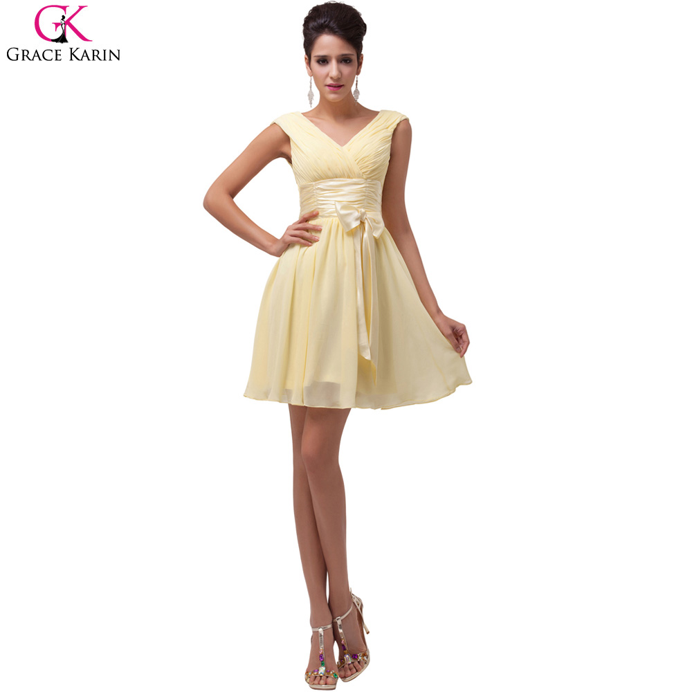 Grace karin yellow chiffon short bridesmaid dresses 2017 v for Below the knee dresses for wedding