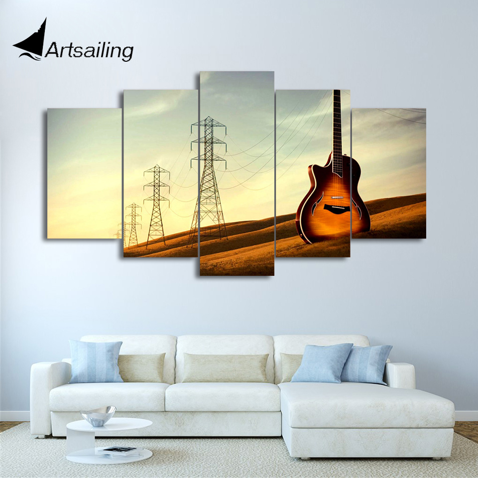 5 Piece Canvas Art HD Printed Vintage Guitar Painting Music ...