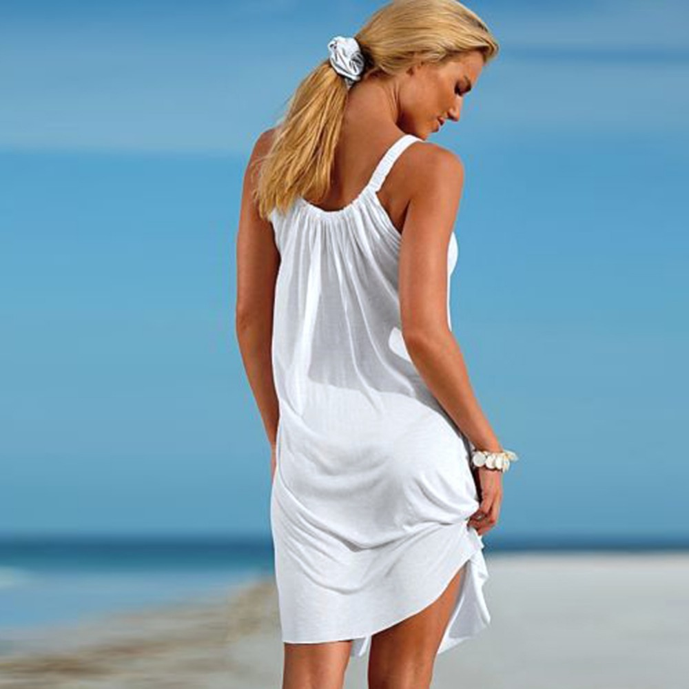 Women Sexy Summer Beachwear Sleeveless Evening Party Beach Dress Short Mini Dress Swim Cover up Beachwear Swimwear Dress
