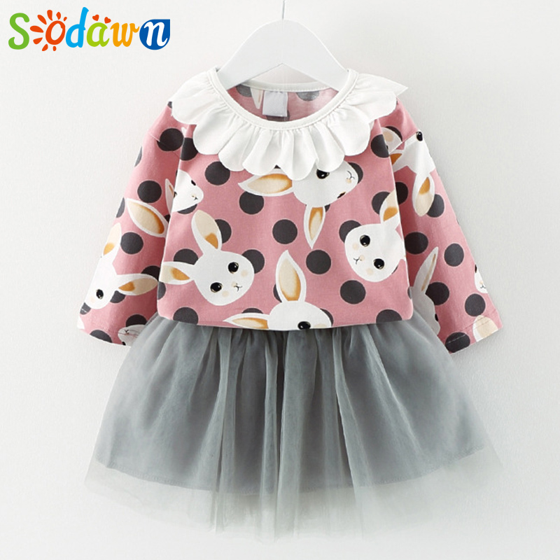 Sodawn Autumn New Children Clothing Baby Girls Dress Cartoon Lace Collar+Net Yarn Dress 2Pcs Baby Girls Set Kids Clohting
