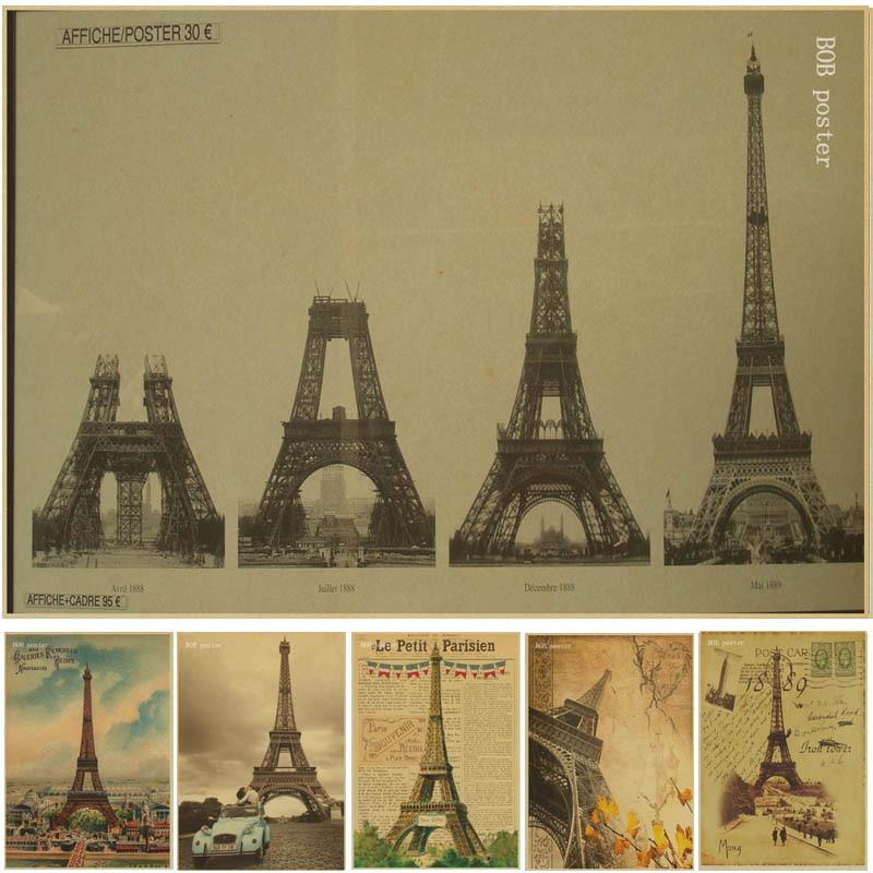 France Paris Eiffel Tower Poster Vintage Kraft Paper ...