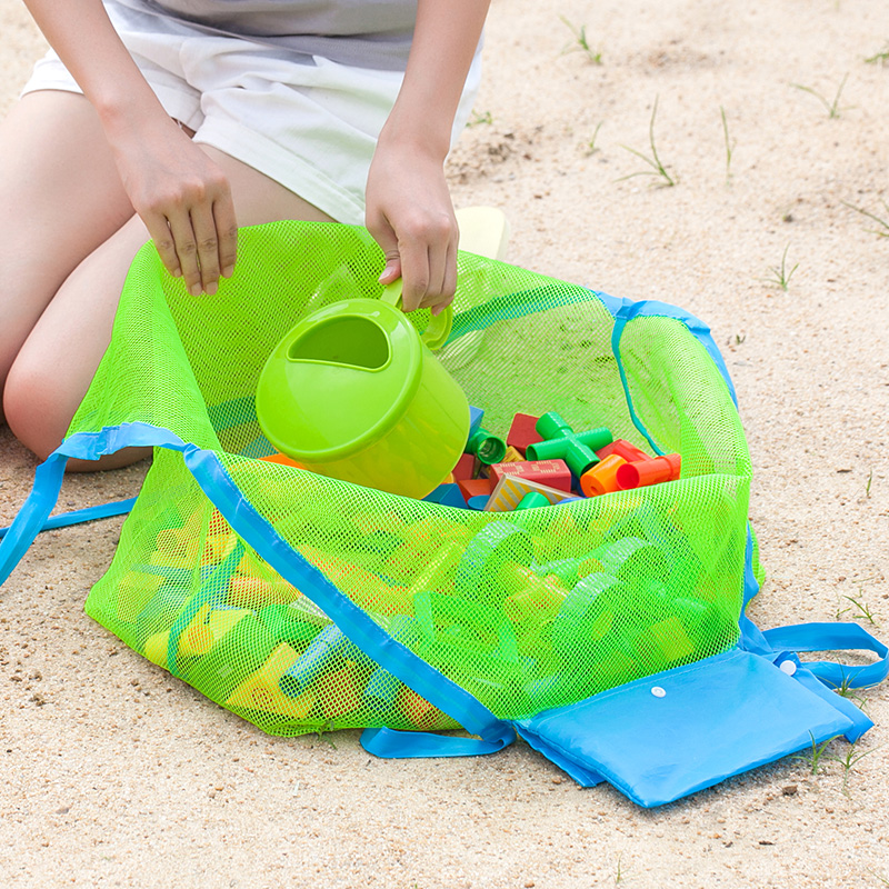 Creative Folding Baby Child Beach Mesh Bag Barn Bath Toy Storage Bag Nät Sugkopp Maskor för utomhus Hängande stor volym